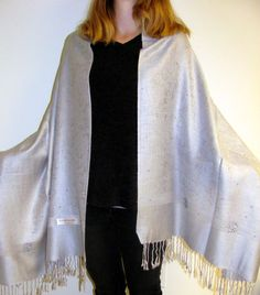 Designer Inlaid Silver Artistic Shawl Wrap: Silver shawls are a must have for every woman's wardrobe. Universal appeal and silver matches any outfit. Unique gift idea!