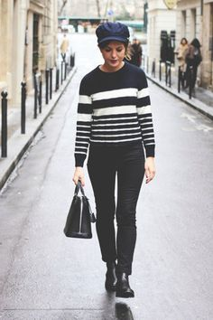 black COS boots - black acne jeans - navy Barbour jacket - navy APC sweater