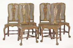 A set of six red lacquered chairs,  18th century and later, with caned seats and backs,  with cabriole legs and ball and claw feet  Sold for £16,000 on 14th March 2017
