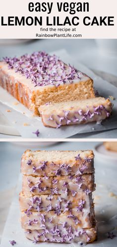 Easy Vegan Lemon Lilac Cake - - This Vegan Lilac Lemon Cake is the most flavorful and delightful cake for spring! Lemony and bright, light and tender yet buttery, it's the best of both worlds. Includes instructions on how to make lilac sugar. Vegan Dessert Recipes, Delicious Vegan Recipes, Cookie Recipes, Best Vegan Desserts, Vegan Recepies, Vegan Baking Recipes, Healthy Cake Recipes, Vegan Foods, Vegan Treats