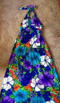 Pomare Hawaiian Tiki Floral Bark Cloth Halter Maxi Dress Purple Medium