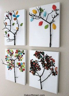 Twig Tree Canvas -- four seasons craft artwork using twigs and fabric Kids Crafts, Fall Crafts For Kids, Tree Crafts, Art For Kids, Diy And Crafts, Arts And Crafts, Kids Fun, Creative Crafts, Creative Art
