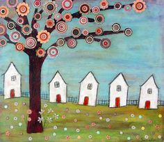 Whimsical Houses Landscape Painting Folk Art Print on Wood from an Original Painting