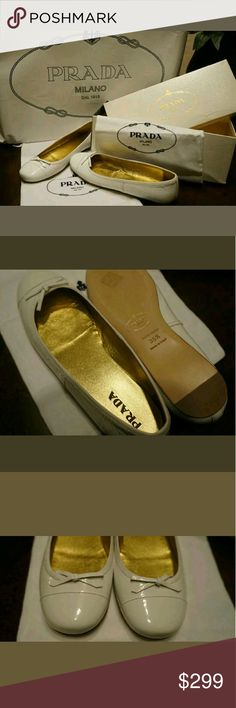 Prada White Flats ShoesSize 35.5 5.5 Authentic NIB Authenticity Guaranteed  New In Box $390  Size EUR 35.5 US 5.5  Prada White Flats  Dustbag and box included   I love these shoes, just too big for me. Purchased for myself, but can't wear them ? Prada Shoes Flats & Loafers