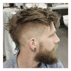 Men Hairstyles Short Sides Long Top plus Undercut with Messy Faux Hawk and Beard