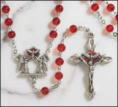 Ghirelli Confirmation Sacrament Holy Spirit Rosary with Red Prayer Beads