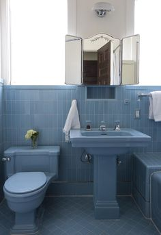 Amazing retro blue bathroom fixtures played up with bold dusty blue tile Art Deco Bathroom, Bathroom Colors, Bathroom Interior, Small Bathroom, Bathroom Designs, Bathroom Ideas, Retro Bathroom Decor, Interior Livingroom, Bathroom Renovations