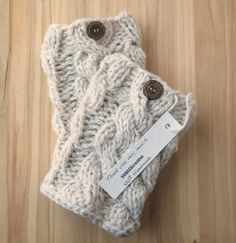 Knitted Boot Cuffs  Smoke Gray Knit Boot Cuffs  by VANAGScreative