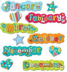 Add style to any monthly calendar display! Includes: 12 months 3 hearts 2 stars   Pair with the Dots on Turquoise Calendar Days and Dots on Turquoise Calendar Poster Chart.   Coordinates with Dots on Turquoise(R) products.