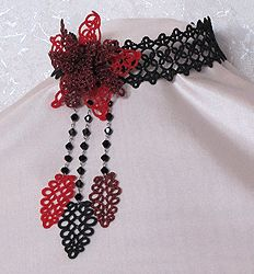 Lace necklace, collars - frivolite:: A lace frivolite of Elena Ignatova, master of folk creation, Ukraine, Kharkov :: Jewellery knot shuttle lace of frivolite (schiffchenspiize), ear-rings, bangles, necklace, natural stone and skin with a lace, style The Gothic Black-art