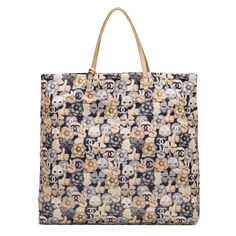 #Chanel Navy, Grey And Gold CC Peace Cat Graphic Printed Large Shopping #Tote