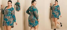 Vestido Estampa de Lenço Mullet Plus Size