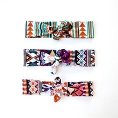 Skinny Tie Up Headscarf // Knotted Headband // Hair wrap // Yoga Hairband // Tribal Headband // Geometric Hairband // Aztec // Ethnic, €12.00