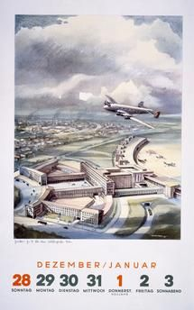 """Berlin (Germany), Berlin-Tempelhof Airport (built from 1937 by Ernst Sagebiel).  """"Junkers Ju 90 over Berlin's international airport"""".  Calendar page, 1941/42, with colour print after watercolour by W. Karl Kurth."""
