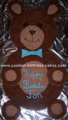 Teddy Bear Cake: I live on a very strict budget (who doesn't now-a-days).  My son Jon who just turned 4 told me that he wanted a bear cake for his birthday and I looked