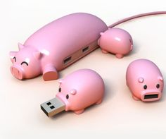 Cool Gadgets for Creative Offices - USB piggy dock Hub Usb, Three Little Pigs, This Little Piggy, Usb Drive, Usb Flash Drive, Disco Duro, Decoration Inspiration, Cool Gadgets, Tech Gadgets