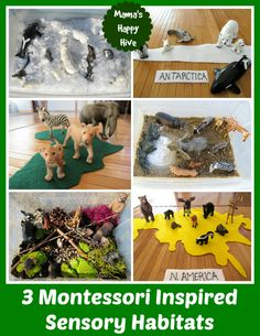 The 12 Months of Montessori Learning theme this week is geography. Come visit to learn how to create 3 DIY Continental Montessori Inspired Sensory Habitats.