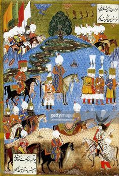 Suleiman I, (1494 - 1566) longest-reigning Sultan of the Ottoman Empire, from 1520 to his death in 1566.Suleiman the magnificent marching with army in Nakhichevan, summer 1554. Date 1561