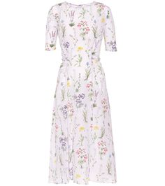 Altuzarra's White Silk Floral Dress in a Delicate Botanical Drawing-Style Print with Sprigs of Spring Flowers. It has Short Slender Sleeves, a Fitted Bodice with Scoop Neckline. Nipped-in Waist with Decorative Gathers and a Midi-Length, A-Line Skirt. I Have an Amethyst & Diamond Pendant, Earrings and Ring and a Pink Sapphire Ring. Finally, Slip into Silver Mules and carry a Purple Bag (It's all on this board). How sweet is this? - Gabrielle