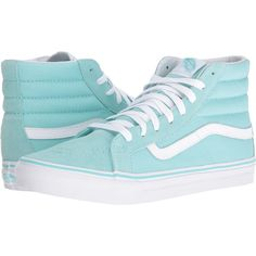 Vans SK8-Hi Slim (Aruba Blue/True White) Skate Shoes ($46) ❤ liked on Polyvore featuring shoes, sneakers, blue, high top sneakers, white hi top sneakers, vans shoes, white shoes and leather high top sneakers