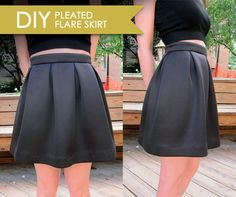 DIY pleated flare skirt