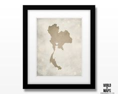 Thailand Map Print - Home Town Love - Personalized Art Print Available in Multiple Sizes by WORLDofMAPS on Etsy