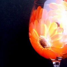 Hand Painted Large Red Wine Glass Orange Gerber Daisies DishwasherSafe | LynetteSadowyStudios - Housewares on ArtFire