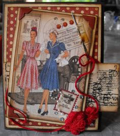 Domestic Goddess paper - gorgeous ladies card - sort of old school and elegant by Tanya for G-45 Audition