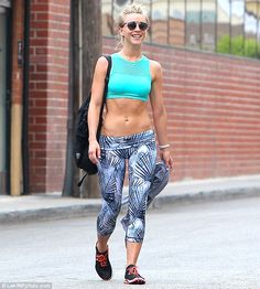 Fitness first: Julianne Hough showed off her toned abs while leaving a Beverly Hills gym on Tuesday