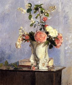 Bouquet of Flowers - Camille Pissarro Artist: Camille Pissarro Completion Date: 1873 Style: Impressionism Genre: flower painting Technique: oil Material: canvas Dimensions: 46.4 x 55 cm Gallery