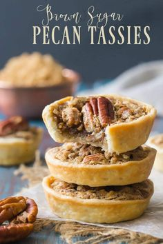 Pecan Tassies: crunchy nuts & warm brown sugar -Baking a Moment Pecan Tassies! These are always a huge favorite, with warm brown sugar, crunchy nuts, and a tender pastry that practically melts in your mouth! Pecan Desserts, Pecan Recipes, Tart Recipes, Mini Desserts, Easy Desserts, Baking Recipes, Sweet Recipes, Cookie Recipes, Delicious Desserts