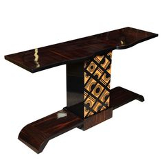 French Art Deco/ Moderne Exotic macassar Ebony Console Table