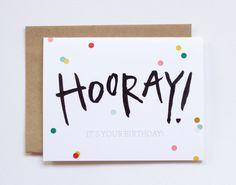 Birthday Card / Hooray / Confetti Card / Happy by IkeStudio