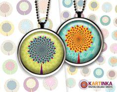 CHEVRONS TREE 1 inch circles Digital Collage Sheet by KARTINKAshop, $3.50