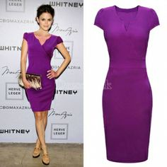 Ladies Wiggle V-neck Bodycon Office Business Slim Party Dress