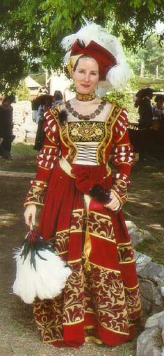 She's wearing a typical German dress similar to the one Katarina Mecklenburg wore. Sleeves slashed and puffed at the elbow, cuffs extended over the hands, and feather hat. Renaissance Costume, Medieval Costume, Renaissance Clothing, Renaissance Fashion, Medieval Dress, Historical Costume, Historical Clothing, 16th Century Fashion, German Costume