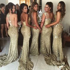 Sequin bridesmaid dresses. I love how sparkly and pretty these are.