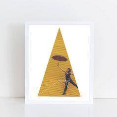 Air Umbrella Girl Art Print  Inspirational Yellow by deificusArt