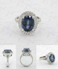 Blue sapphire and diamond ring by Kalfin Jewellery