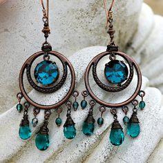 copper/teal swarovsky earrings | ... Earrings - Teal Quartz Briolette, Antique Copper, Czech Glass, Dangle