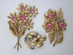 DeStash 3 Vintage Flower Brooches by WhitebirdArtiques on Etsy 22.00