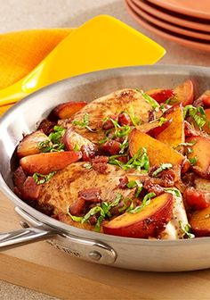 You'll love this Peach Balsamic Chicken Skillet recipe--tossed with balsamic vinegar and topped with fresh basil.