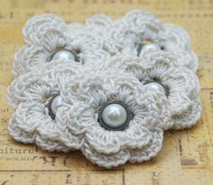 Crochet Flower Scrapbook Embellishments