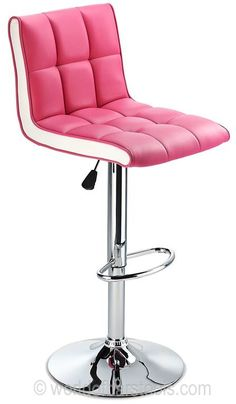 The Allegro bar stool looks cool, modern and full of feminine fun when styled in fetching pink with flawless white sides. The inviting colours tie in beautifully with the smart silver of the chrome stand and base. Not just for the girls, the pink Pink Bar Stools, Chrome Bar Stools, Swivel Counter Stools, Modern Bar Stools, Breakfast Bar Stools, White Dining Room Chairs, Polywood Adirondack Chairs, Comfortable Office Chair, Adjustable Bar Stools