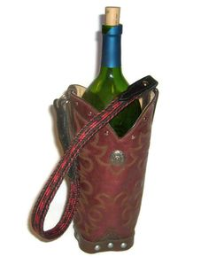 Not limited to wine, these classic cowboy boot totes carry any spirits you want, or flowers, hand-towels, kitchen utensils, etc. Makes an excellent hostess or special occasion gift.