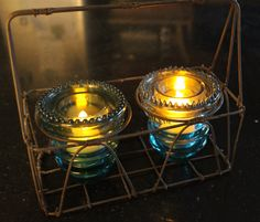 Upside Down Glass Insulators as Tea Light Holders