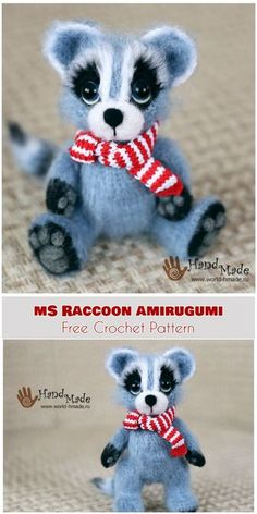 Ms Raccoon Amirugumi [Free Crochet Pattern] Follow us for ONLY FREE crocheting patterns for Amigurumi, Toys, Afghans and many more!