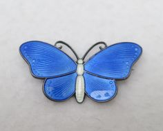 Norway Ivar T. Holth- Silver Sterling Sky Blue Guilloche Enamel Butterfly Brooch Pin- C Clasp by Framarines on Etsy
