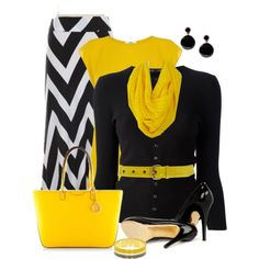 Chevron and Yellow, created by daiscat on Polyvore