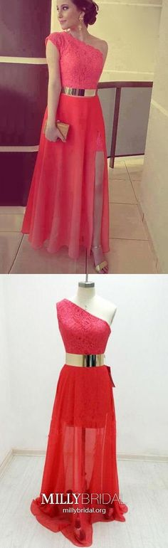Red Prom Dresses A Line, Long Formal Evening Dresses With Slit, Chiffon Wedding Party Dresses One Shoulder, Elegant Pageant Graduation Party Dresses Lace Elegant Homecoming Dresses, Formal Dresses For Teens, A Line Prom Dresses, Formal Evening Dresses, Trendy Dresses, Party Dresses, Elegant Dresses, Formal Prom, Red A Line Dress